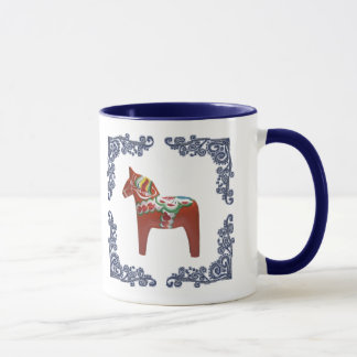Swedish Dala Horse with Blue Delft Scrolled Frame Mug