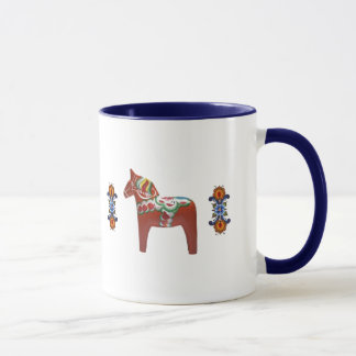 Swedish Dala Horse with Norwegian Rosemaling Mug