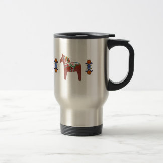 Swedish Dala Horse with Norwegian Rosemaling Travel Mug