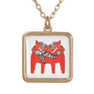 Swedish Dala Horses Apparel and Gifts Gold Plated Necklace