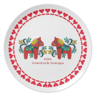 Swedish Dala Horses Personalized Scandinavian Plate