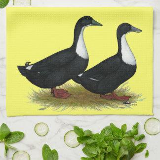 Swedish Ducks Black Kitchen Towel