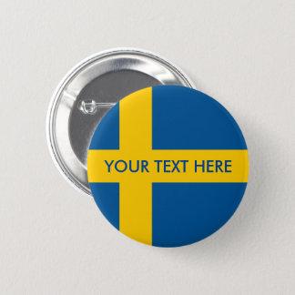 Swedish flag custom round pinback buttons