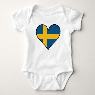 Swedish Flag Heart Baby Bodysuit
