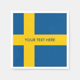 Swedish flag of Sweden custom party napkins