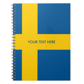 Swedish flag of Sweden custom spiral notebook