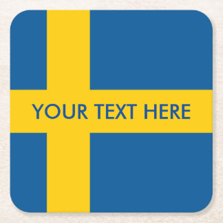 Swedish flag of Sweden paper drink coasters