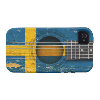Swedish Flag on Old Acoustic Guitar Case-Mate iPhone 4 Case