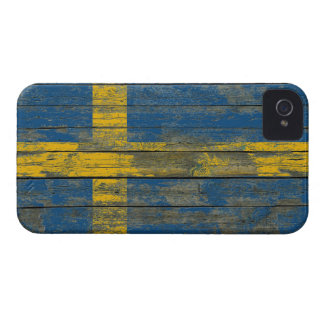 Swedish Flag on Rough Wood Boards Effect iPhone 4 Covers