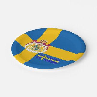 Swedish flag paper plate