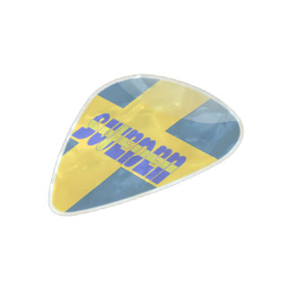 Swedish flag pearl celluloid guitar pick