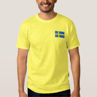 Swedish Flag Scandinavian Embroidered T-Shirt