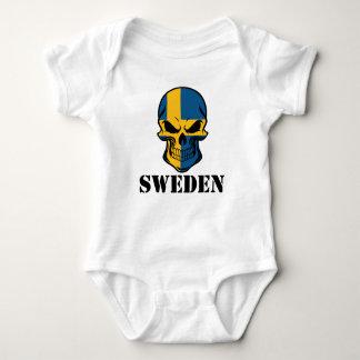 Swedish Flag Skull Sweden Baby Bodysuit