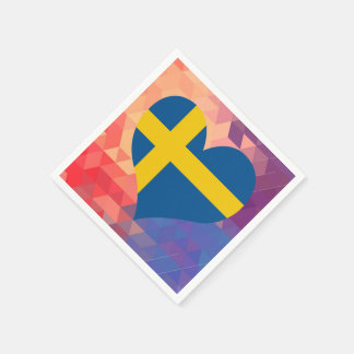 Swedish Flag Star On Colorful Bokeh Paper Napkin