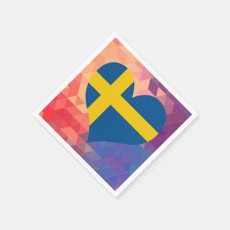 Swedish Flag Star On Colourful Bokeh Disposable Napkins