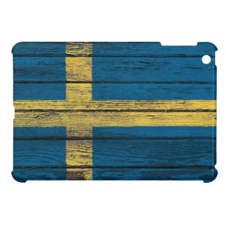 Swedish Flag with Rough Wood Grain Effect iPad Mini Cover