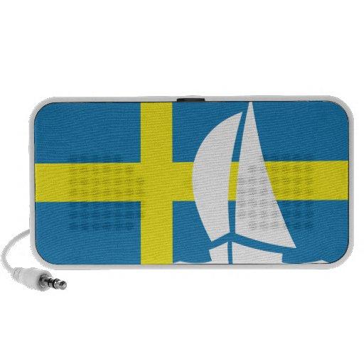 Swedish Flag Yacht Sailing Nautical Sweden Laptop Speaker