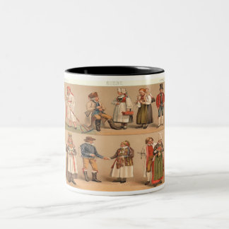 Swedish Folk Costumes. Two-Tone Coffee Mug