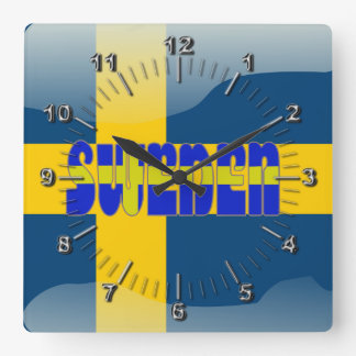 Swedish glossy flag square wall clock