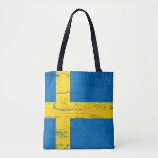 Swedish Grunge Flag Tote Bag