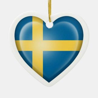 Swedish Heart Flag on White Ceramic Ornament