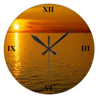 Swedish Islands Sunset Large Clock