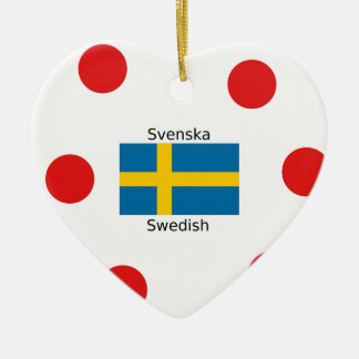Swedish Language (Svenska) And Sweden Flag Design Ceramic Ornament