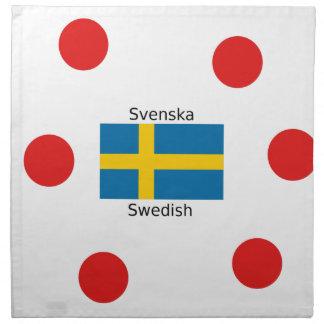 Swedish Language (Svenska) And Sweden Flag Design Napkin