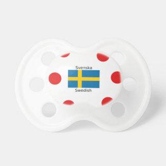 Swedish Language (Svenska) And Sweden Flag Design Pacifier