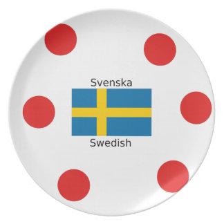 Swedish Language (Svenska) And Sweden Flag Design Plate