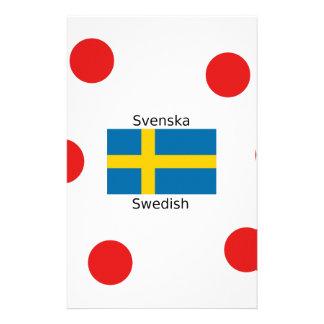 Swedish Language (Svenska) And Sweden Flag Design Stationery