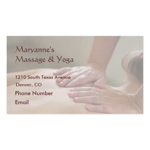 Swedish Massage Photo - Back (screened back photo) Business Cards