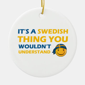 swedish smiley design ceramic ornament