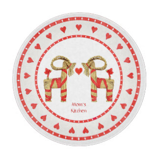 Swedish Straw Goat and Hearts Personalized Cutting Board