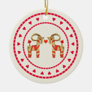 Swedish Straw Goat Julbok Heart Circle Ceramic Ornament