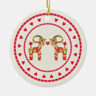 Swedish Straw Goat Julbok Heart Circle Round Ceramic Ornament
