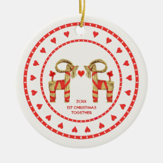 Swedish Straw Goats 1st Christmas Together Dated Round Ceramic Ornament