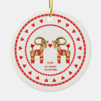 Swedish Straw Goats 40 Years Together Dated Round Ceramic Ornament