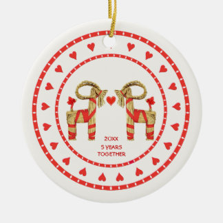 Swedish Straw Goats 5 Years Together Dated Round Ceramic Ornament