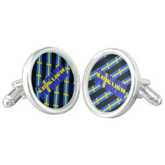 Swedish stripes flag cufflinks