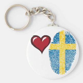 Swedish touch fingerprint flag basic round button keychain