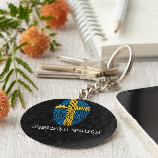 Swedish touch fingerprint flag keychain