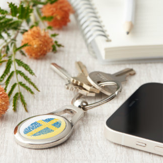Swedish touch fingerprint flag Silver-Colored oval keychain