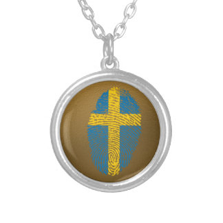 Swedish touch fingerprint flag silver plated necklace