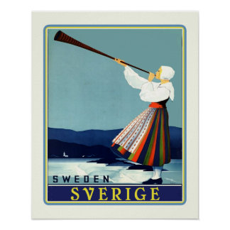 Swedish Travel Sverige Poster