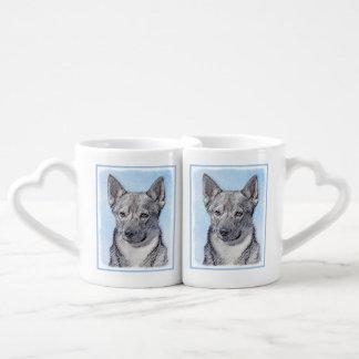 Swedish Vallhund Painting - Cute Original Dog Art Coffee Mug Set