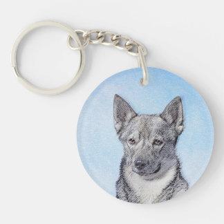 Swedish Vallhund Painting - Cute Original Dog Art Keychain