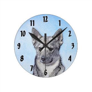 Swedish Vallhund Painting - Cute Original Dog Art Round Clock