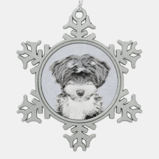 Swedish Vallhund Painting - Cute Original Dog Art Snowflake Pewter Christmas Ornament