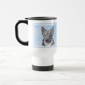 Swedish Vallhund Painting - Cute Original Dog Art Travel Mug